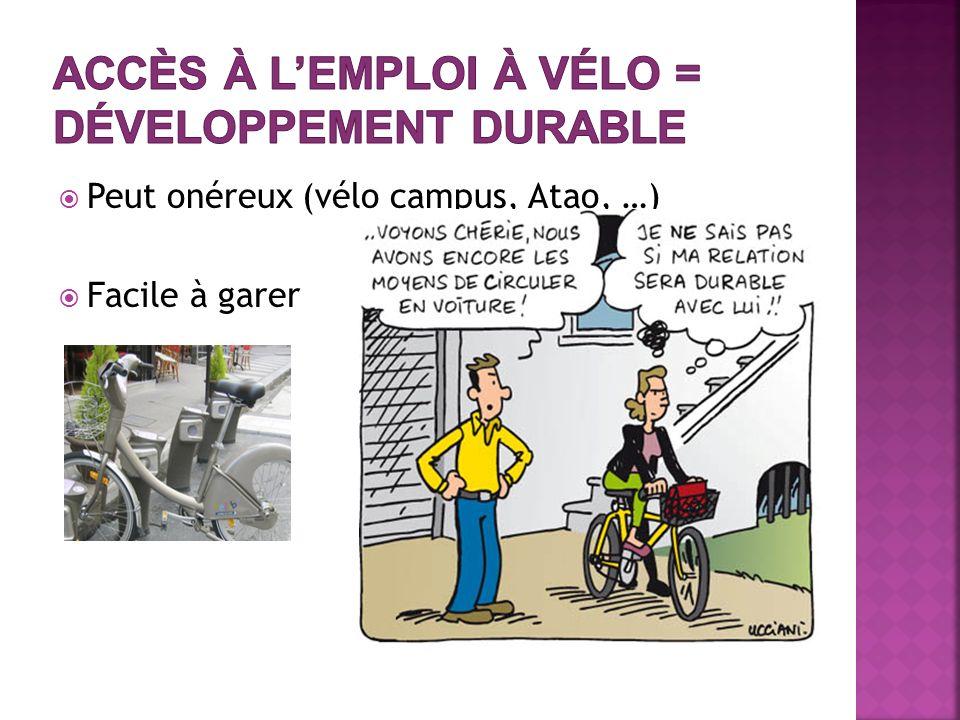Peut onéreux (vélo campus, Atao, …) Facile à garer
