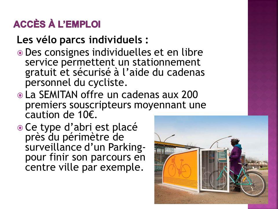 Les vélo parcs individuels : Des consignes individuelles et en libre service permettent un stationnement gratuit et sécurisé à laide du cadenas personnel du cycliste.