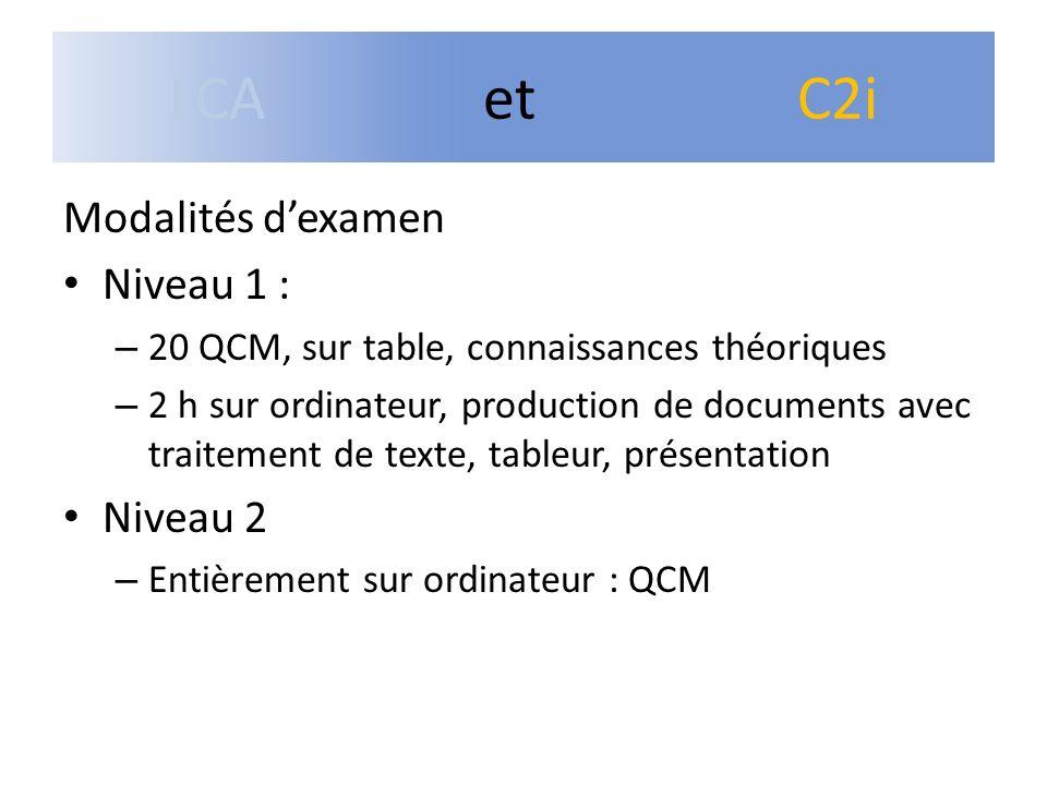 Modalités dexamen Niveau 1 : – 20 QCM, sur table, connaissances théoriques – 2 h sur ordinateur, production de documents avec traitement de texte, tab