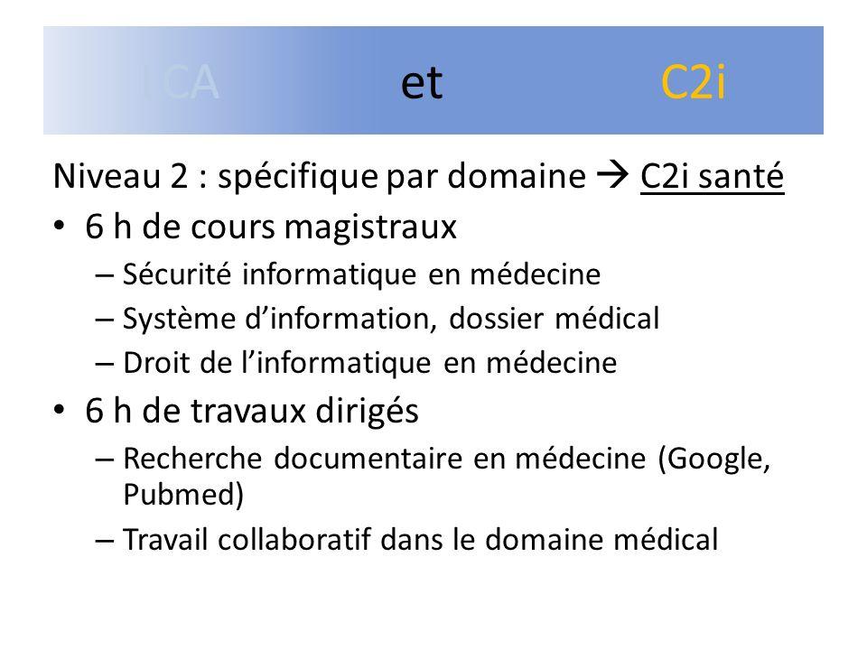Niveau 2 : spécifique par domaine C2i santé 6 h de cours magistraux – Sécurité informatique en médecine – Système dinformation, dossier médical – Droi