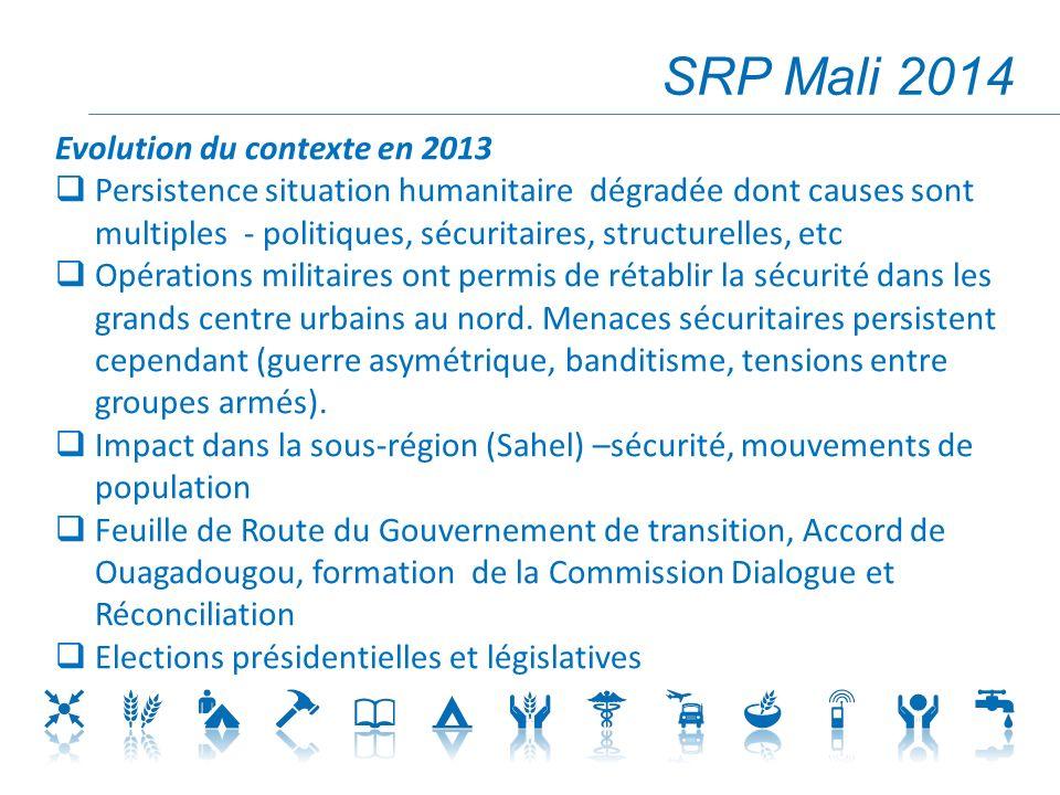 SRP Mali 2014 Evolution du contexte en 2013 Persistence situation humanitaire dégradée dont causes sont multiples - politiques, sécuritaires, structurelles, etc Opérations militaires ont permis de rétablir la sécurité dans les grands centre urbains au nord.