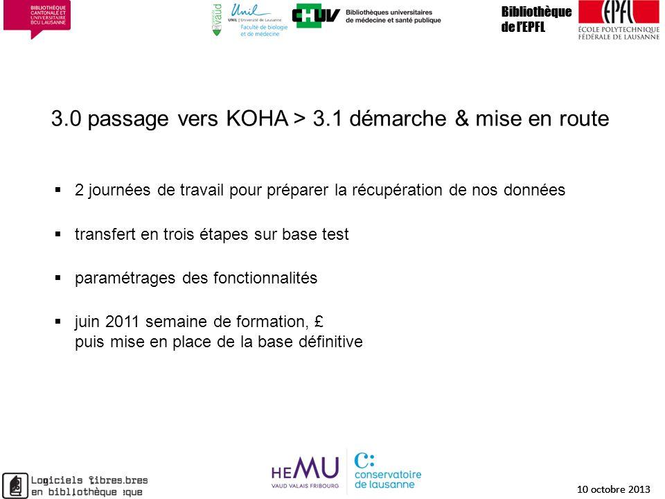 3.0 passage vers KOHA > 3.1 démarche & mise en route Bibliothèque de lEPFL 10 octobre 2013 14 Bibliothèque de lEPFL 10 octobre 2013 14 Bibliothèque de