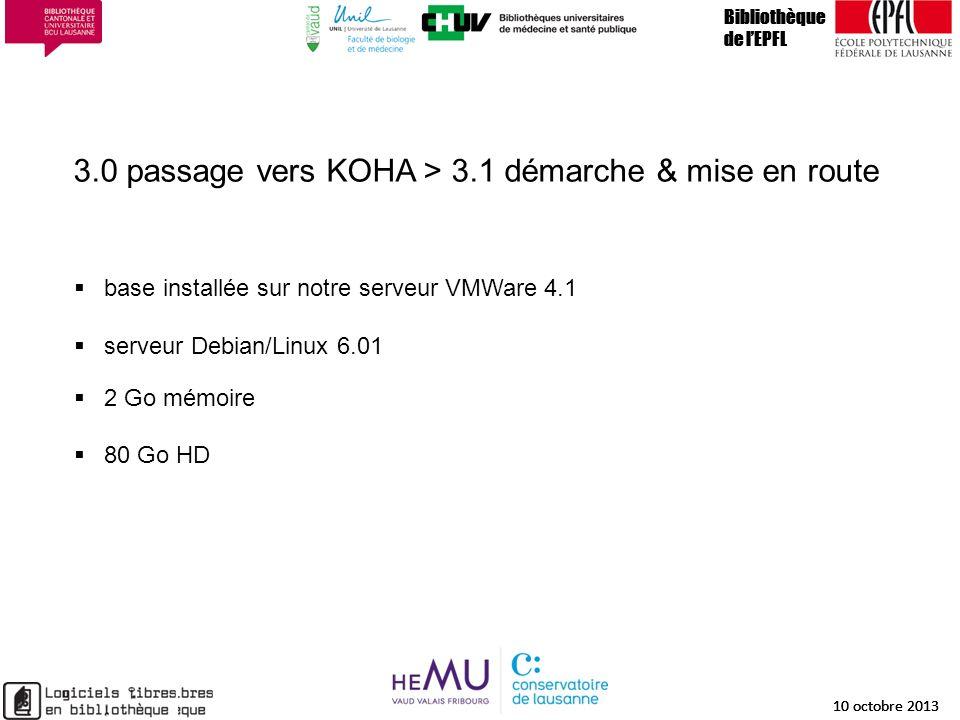 3.0 passage vers KOHA > 3.1 démarche & mise en route Bibliothèque de lEPFL 10 octobre 2013 15 Bibliothèque de lEPFL 10 octobre 2013 15 Bibliothèque de