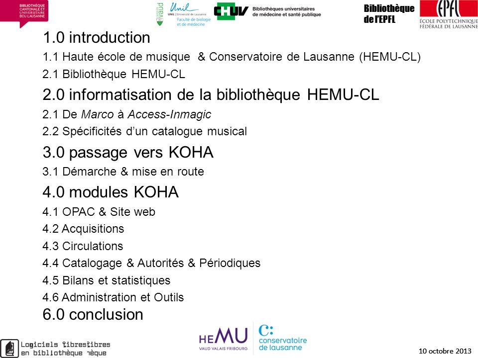 1.0 introduction 1.1 Haute école de musique & Conservatoire de Lausanne (HEMU-CL) 2.1 Bibliothèque HEMU-CL 2.0 informatisation de la bibliothèque HEMU