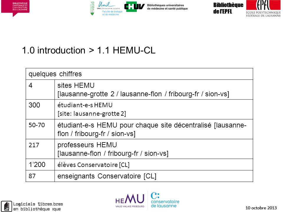 1.0 introduction > 1.1 HEMU-CL Bibliothèque de lEPFL 10 octobre 2013 4 Bibliothèque de lEPFL 10 octobre 2013 4 Bibliothèque de lEPFL 10 octobre 2013 q