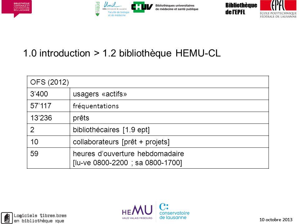 1.0 introduction > 1.2 bibliothèque HEMU-CL Bibliothèque de lEPFL 10 octobre 2013 6 Bibliothèque de lEPFL 10 octobre 2013 6 Bibliothèque de lEPFL 10 o