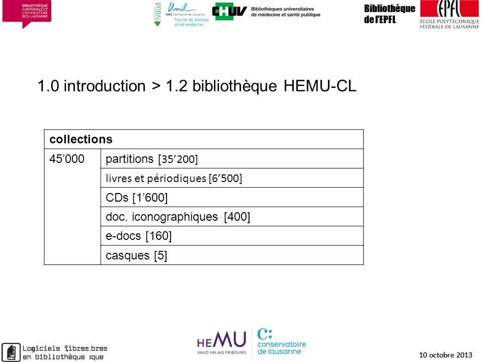 1.0 introduction > 1.2 bibliothèque HEMU-CL Bibliothèque de lEPFL 10 octobre 2013 7 Bibliothèque de lEPFL 10 octobre 2013 7 Bibliothèque de lEPFL 10 o
