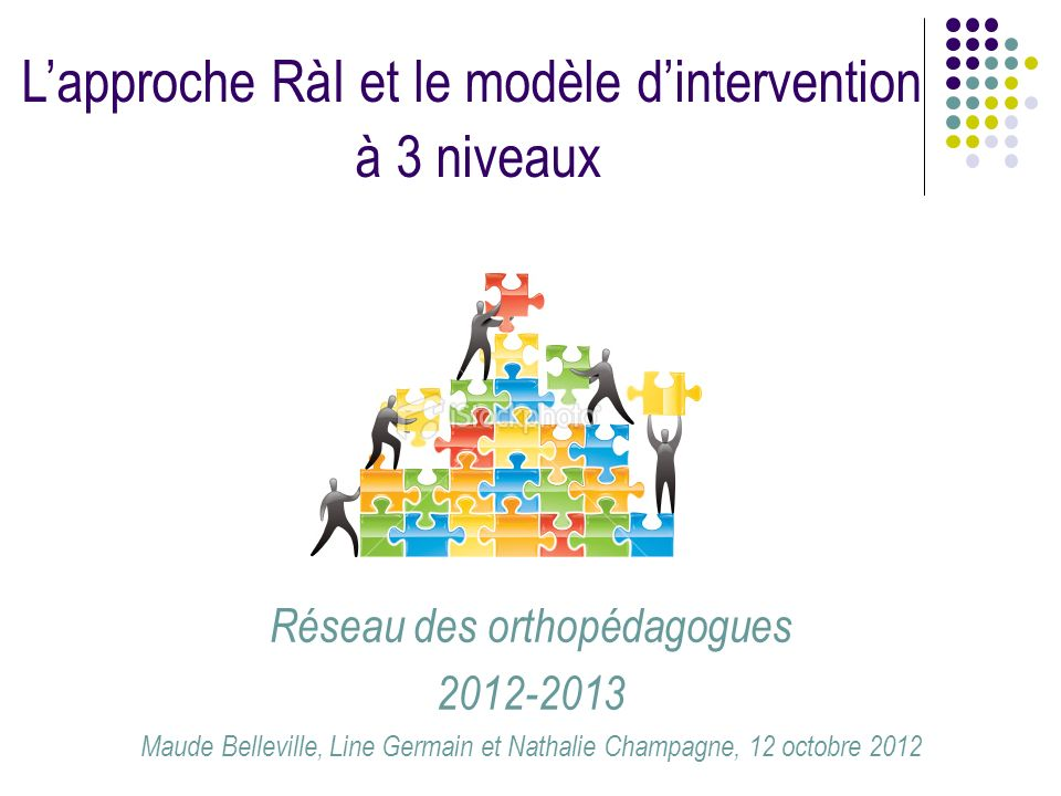 Réseau des orthopédagogues 2012-2013 Maude Belleville, Line Germain et Nathalie Champagne, 12 octobre 2012 Lapproche RàI et le modèle dintervention à
