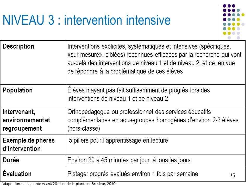 15 NIVEAU 3 : intervention intensive Description Interventions explicites, systématiques et intensives (spécifiques, «sur mesure», ciblées) reconnues