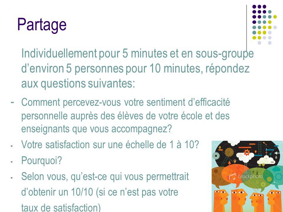 Partage Individuellement pour 5 minutes et en sous-groupe denviron 5 personnes pour 10 minutes, répondez aux questions suivantes: - Comment percevez-v