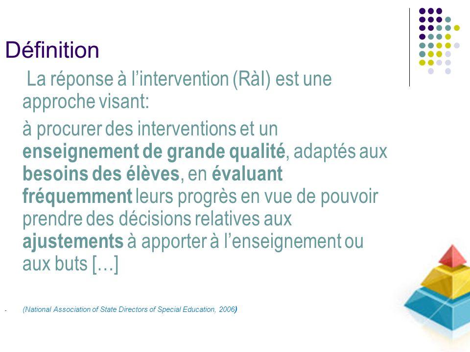 Définition La réponse à lintervention (RàI) est une approche visant: à procurer des interventions et un enseignement de grande qualité, adaptés aux be