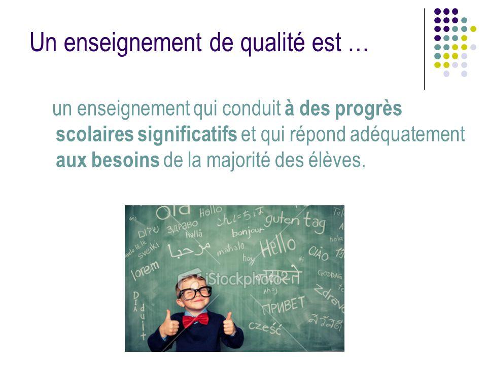 Un enseignement de qualité est … un enseignement qui conduit à des progrès scolaires significatifs et qui répond adéquatement aux besoins de la majori
