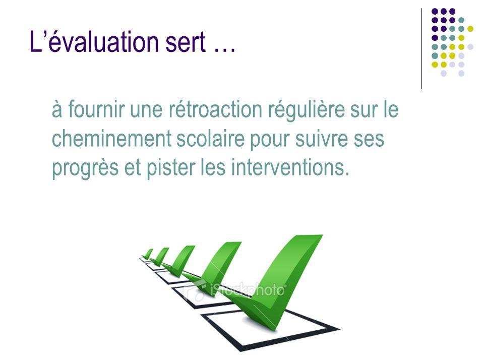 Lévaluation sert … à fournir une rétroaction régulière sur le cheminement scolaire pour suivre ses progrès et pister les interventions.