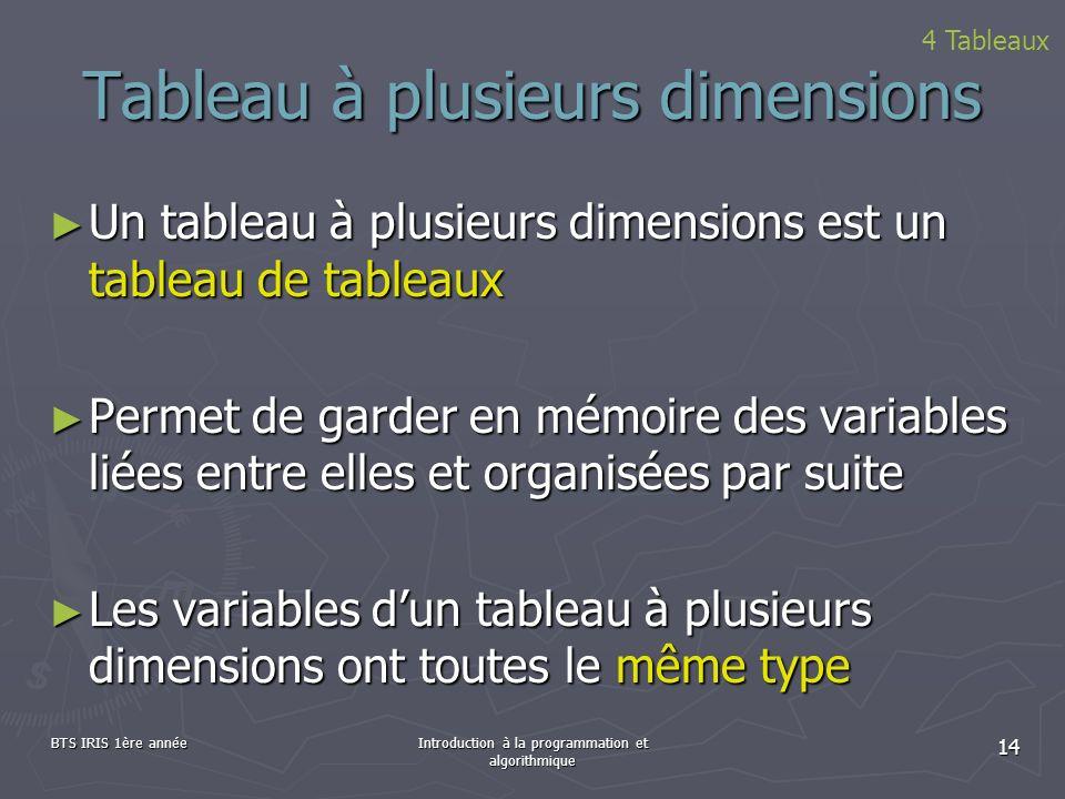 BTS IRIS 1ère annéeIntroduction à la programmation et algorithmique 14 Tableau à plusieurs dimensions Un tableau à plusieurs dimensions est un tableau