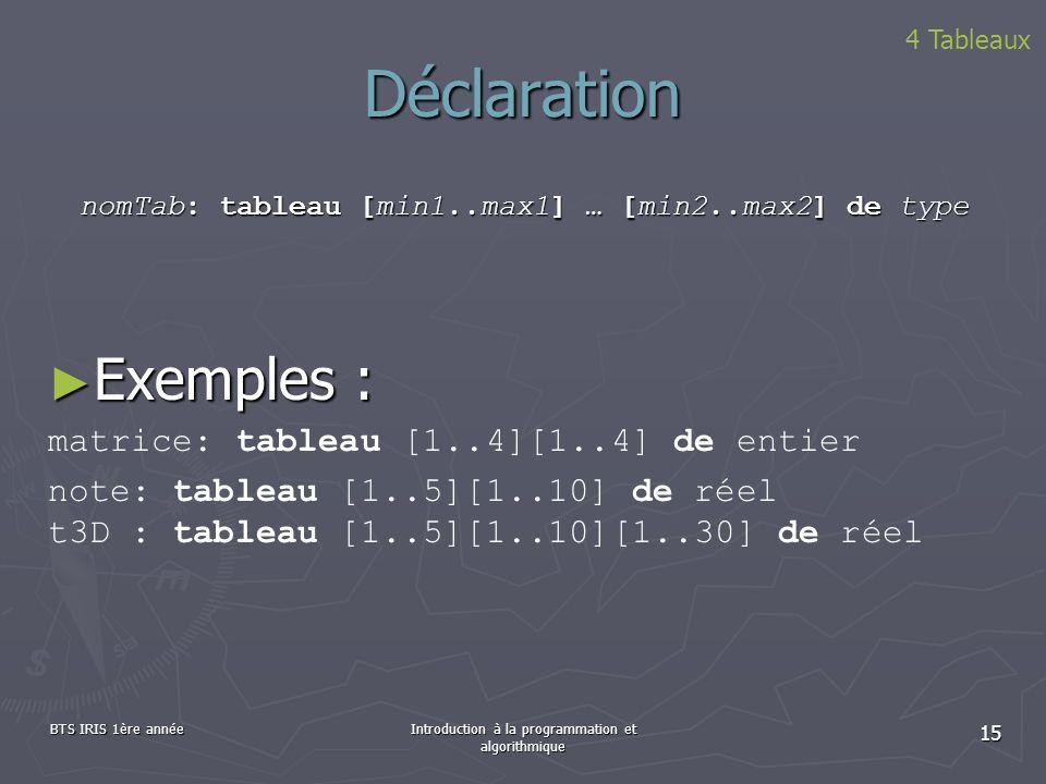 BTS IRIS 1ère annéeIntroduction à la programmation et algorithmique 15 Déclaration 4 Tableaux nomTab: tableau [min1..max1] … [min2..max2] de type Exem