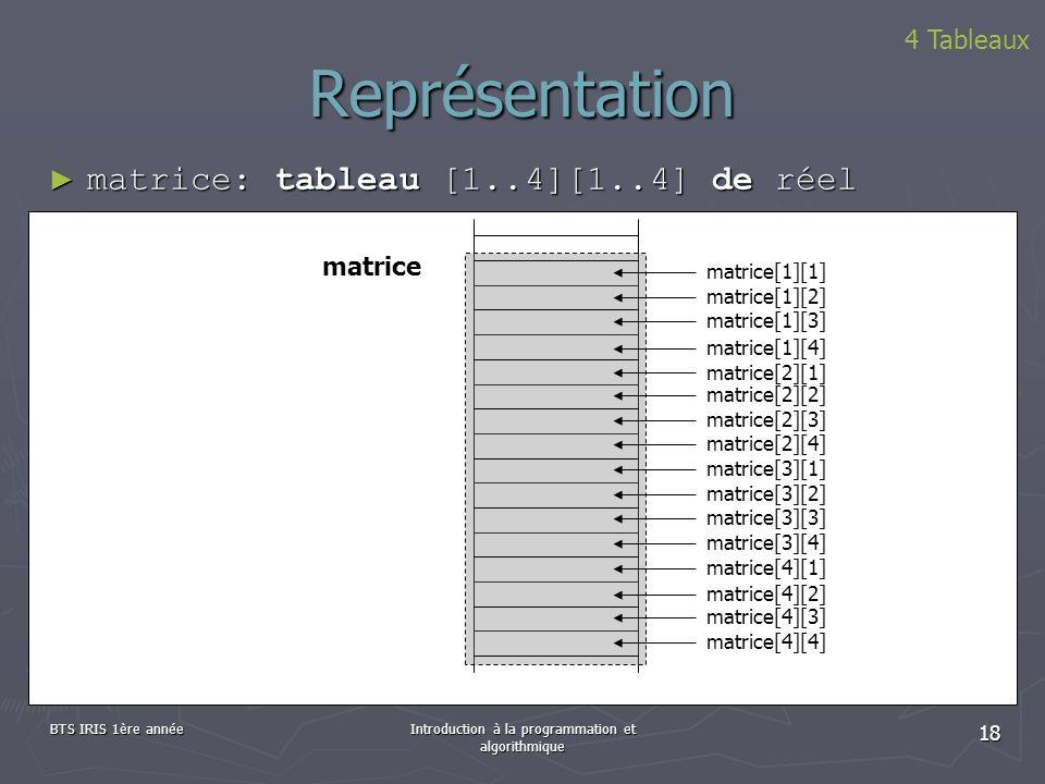 BTS IRIS 1ère annéeIntroduction à la programmation et algorithmique 18 Représentation 4 Tableaux matrice: tableau [1..4][1..4] de réel matrice: tablea