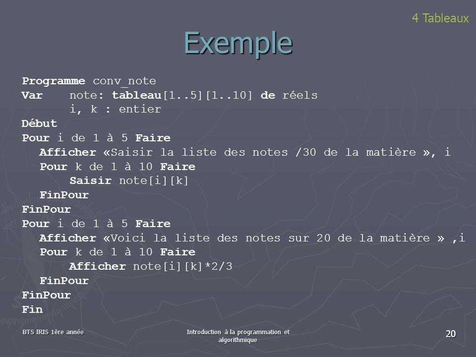 BTS IRIS 1ère annéeIntroduction à la programmation et algorithmique 20 Exemple Programme conv_note Var note: tableau[1..5][1..10] de réels i, k : enti