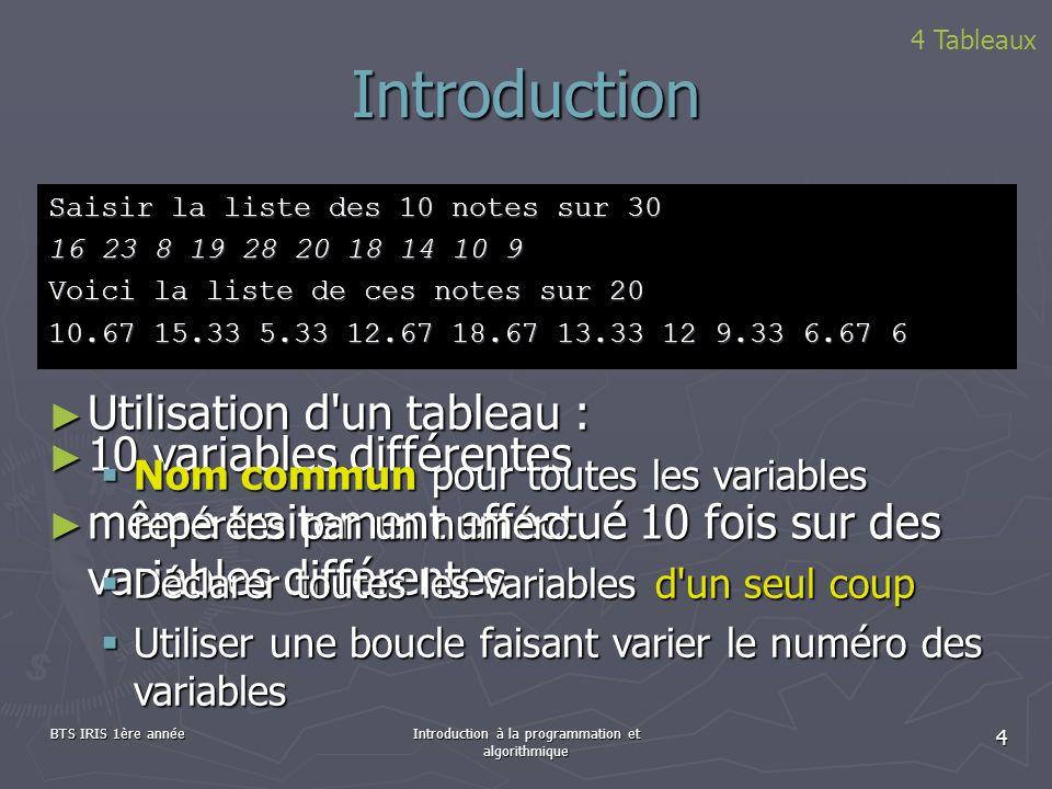 BTS IRIS 1ère annéeIntroduction à la programmation et algorithmique 4 Introduction Saisir la liste des 10 notes sur 30 16 23 8 19 28 20 18 14 10 9 Voi