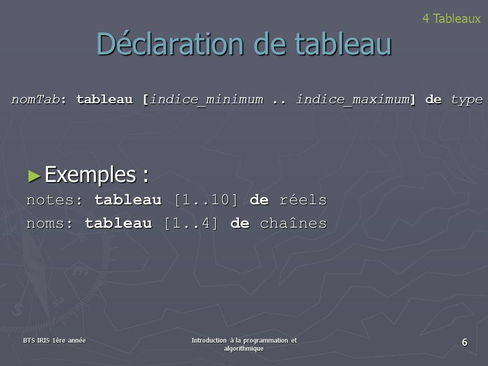 BTS IRIS 1ère annéeIntroduction à la programmation et algorithmique 6 Déclaration de tableau 4 Tableaux Exemples : Exemples : notes: tableau [1..10] d