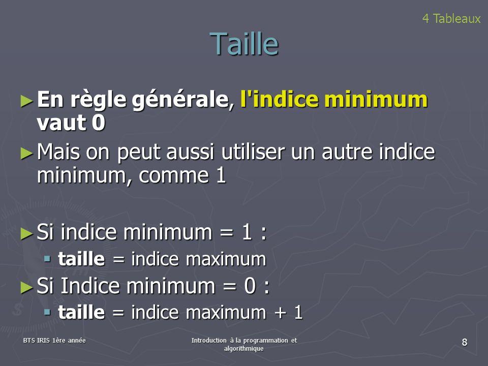 BTS IRIS 1ère annéeIntroduction à la programmation et algorithmique 8 Taille 4 Tableaux En règle générale, l'indice minimum vaut 0 En règle générale,