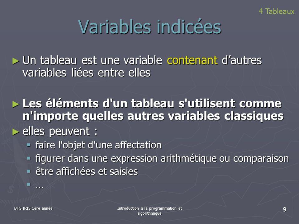 BTS IRIS 1ère annéeIntroduction à la programmation et algorithmique 9 Variables indicées 4 Tableaux Un tableau est une variable contenant dautres vari