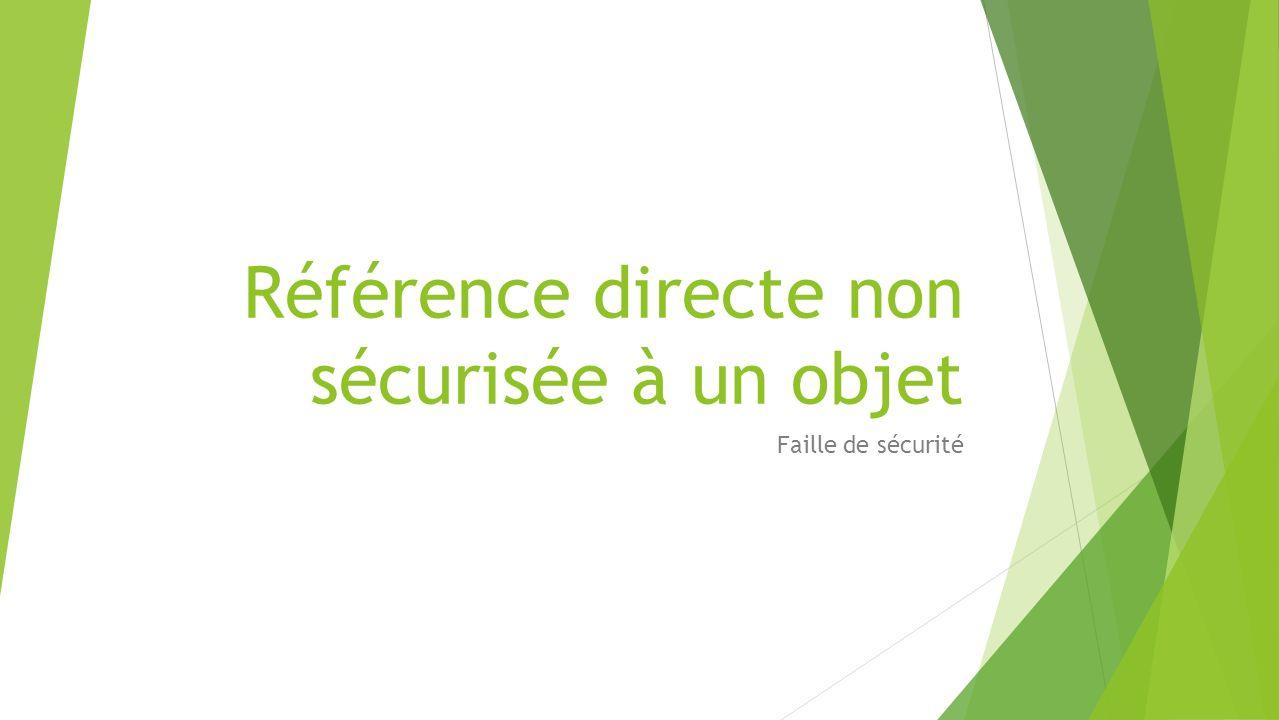 Référence directe non sécurisée à un objet Faille de sécurité
