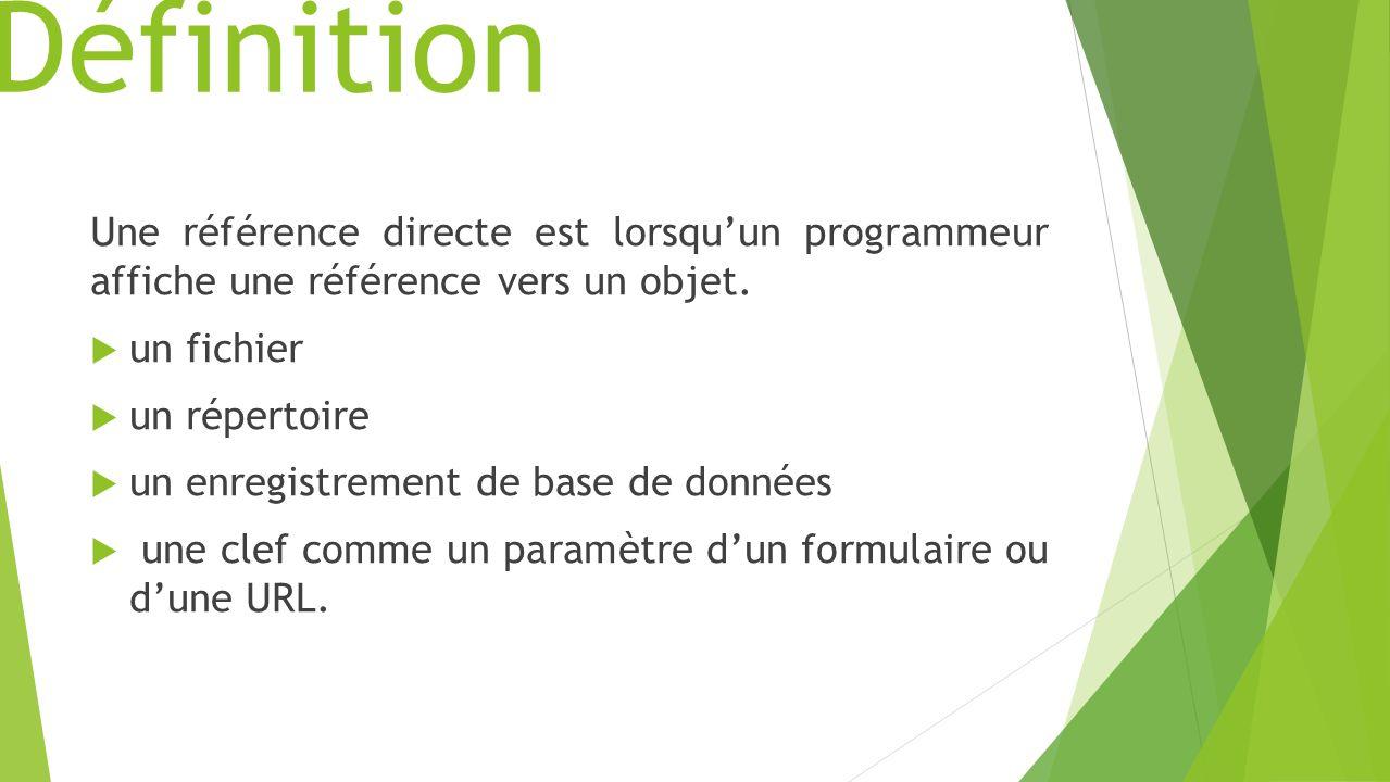 Définition Une référence directe est lorsquun programmeur affiche une référence vers un objet.