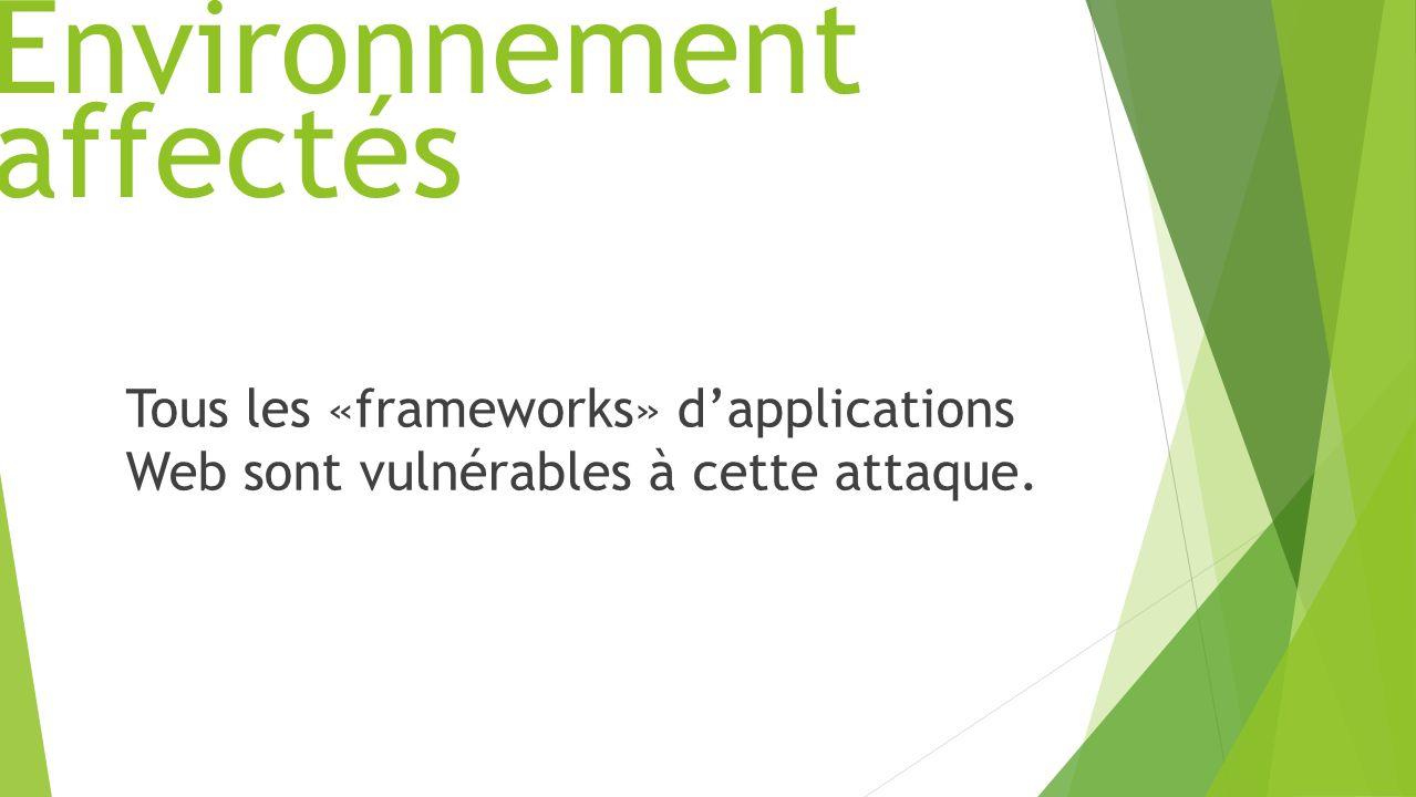 Environnement Tous les «frameworks» dapplications Web sont vulnérables à cette attaque. affectés