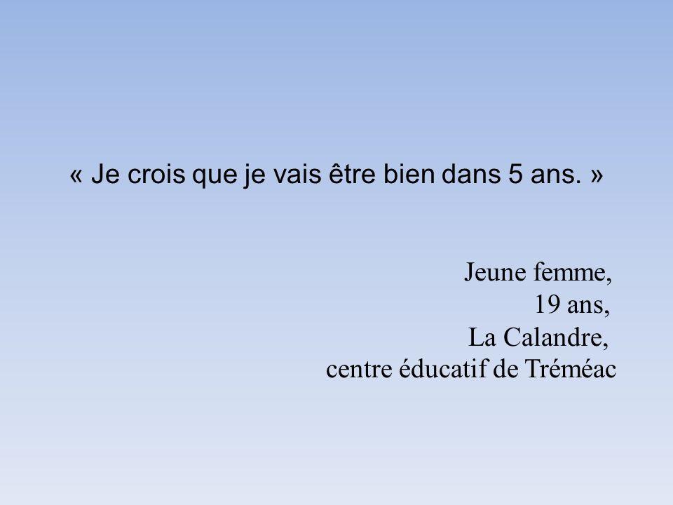 « Je crois que je vais être bien dans 5 ans. » Jeune femme, 19 ans, La Calandre, centre éducatif de Tréméac