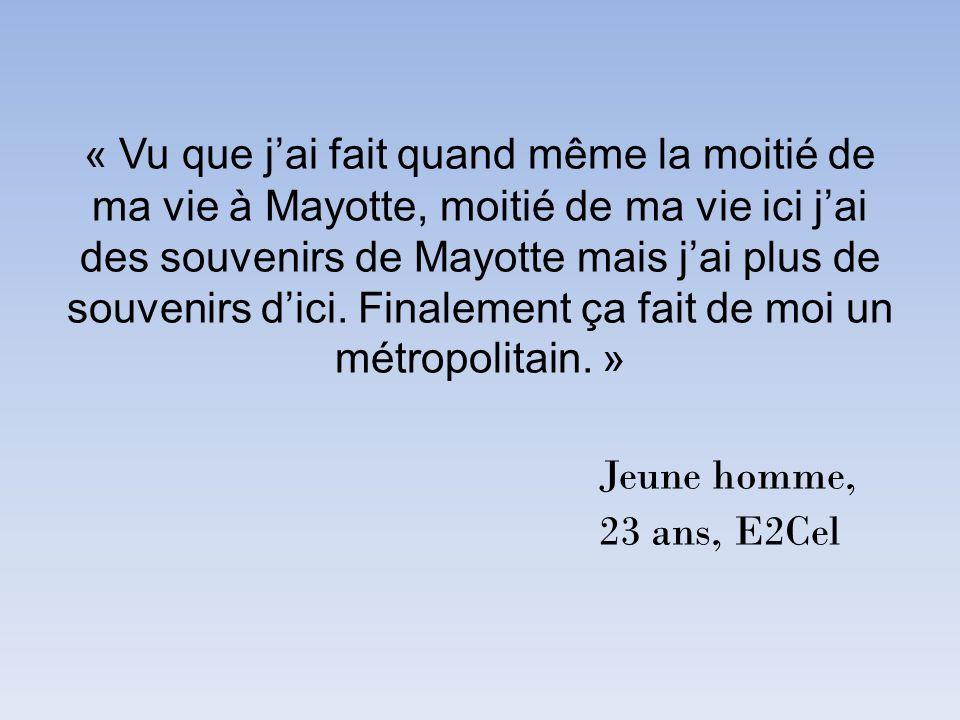 « Vu que jai fait quand même la moitié de ma vie à Mayotte, moitié de ma vie ici jai des souvenirs de Mayotte mais jai plus de souvenirs dici. Finalem
