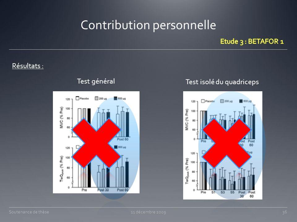 Contribution personnelle 11 décembre 200936Soutenance de thèse Résultats : Test général Test isolé du quadriceps