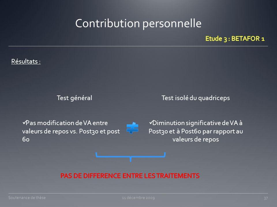 Contribution personnelle 11 décembre 200937Soutenance de thèse Résultats : Test général Pas modification de VA entre valeurs de repos vs. Post30 et po