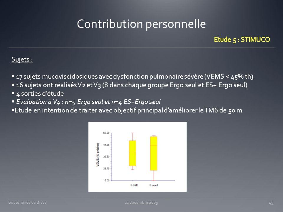 Contribution personnelle 11 décembre 200949Soutenance de thèse Sujets : 17 sujets mucoviscidosiques avec dysfonction pulmonaire sévère (VEMS < 45% th)