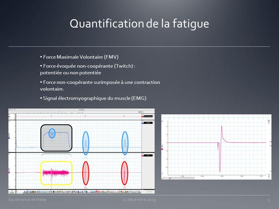 Quantification de la fatigue Soutenance de thèse11 décembre 2009 Force Maximale Volontaire (FMV) Force évoquée non-coopérante (Twitch) : potentiée ou