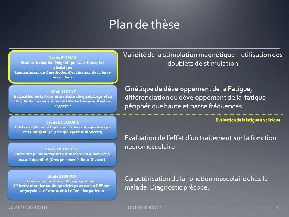 Plan de thèse Soutenance de thèse11 décembre 2009 Etude ELEMAG Etude Stimulation Magnétique vs. Stimulation Electrique Comparaison de 2 méthodes déval