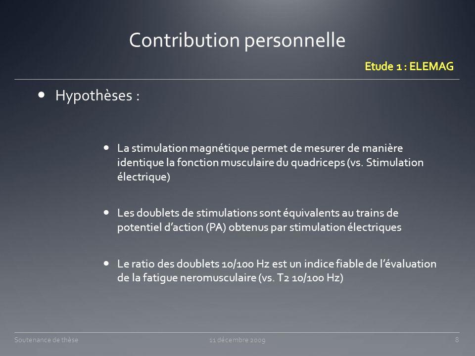 Hypothèses : La stimulation magnétique permet de mesurer de manière identique la fonction musculaire du quadriceps (vs. Stimulation électrique) Les do