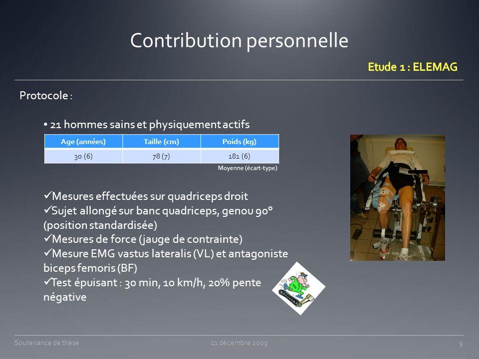 Contribution personnelle 11 décembre 200950Soutenance de thèse Randomisation :
