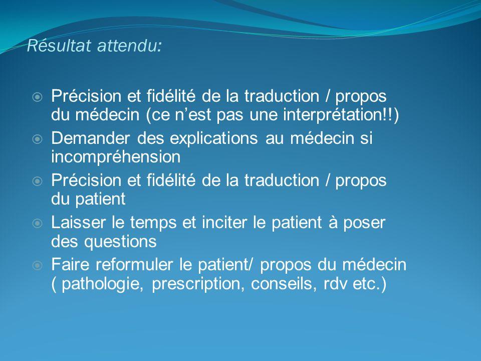 Résultat attendu: Précision et fidélité de la traduction / propos du médecin (ce nest pas une interprétation!!) Demander des explications au médecin s