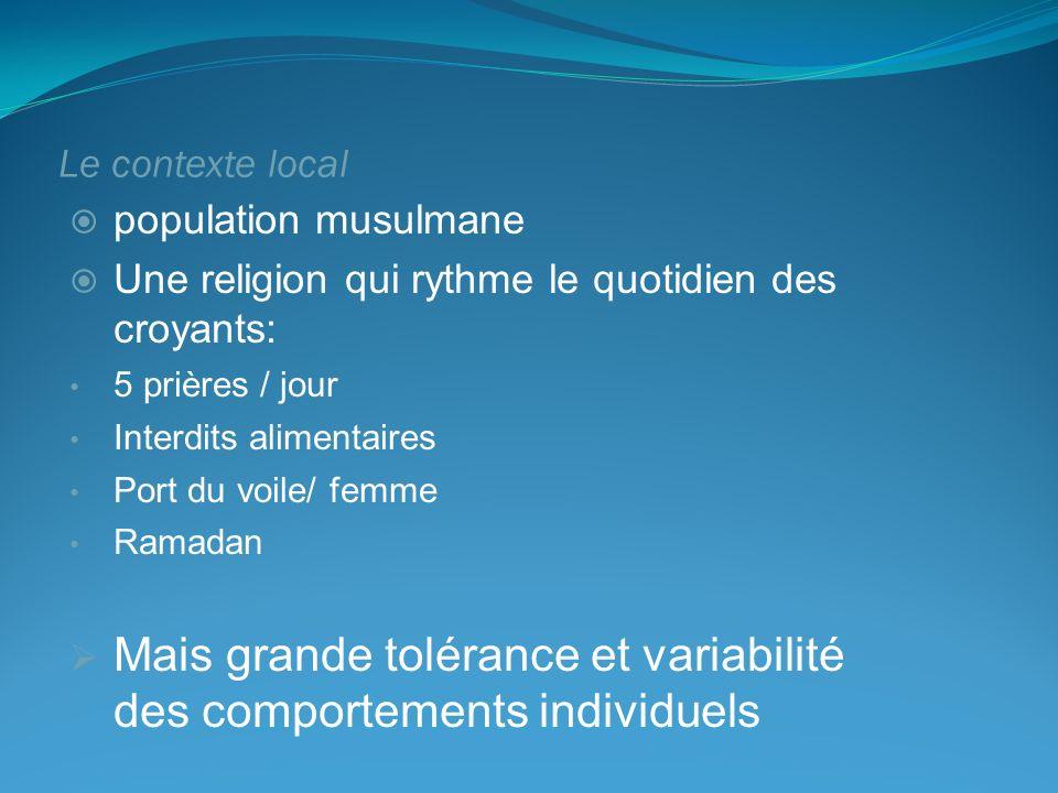 Le contexte local population musulmane Une religion qui rythme le quotidien des croyants: 5 prières / jour Interdits alimentaires Port du voile/ femme