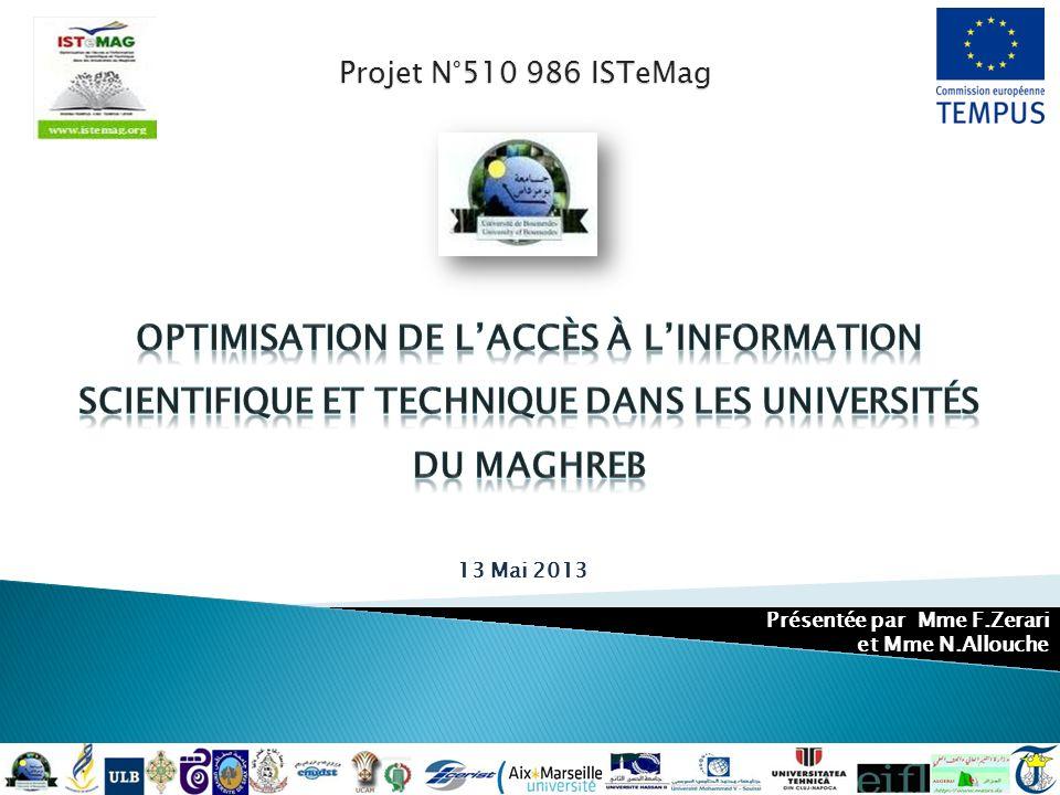 Projet N°510 986 ISTeMag 13 Mai 2013 Présentée par Mme F.Zerari et Mme N.Allouche