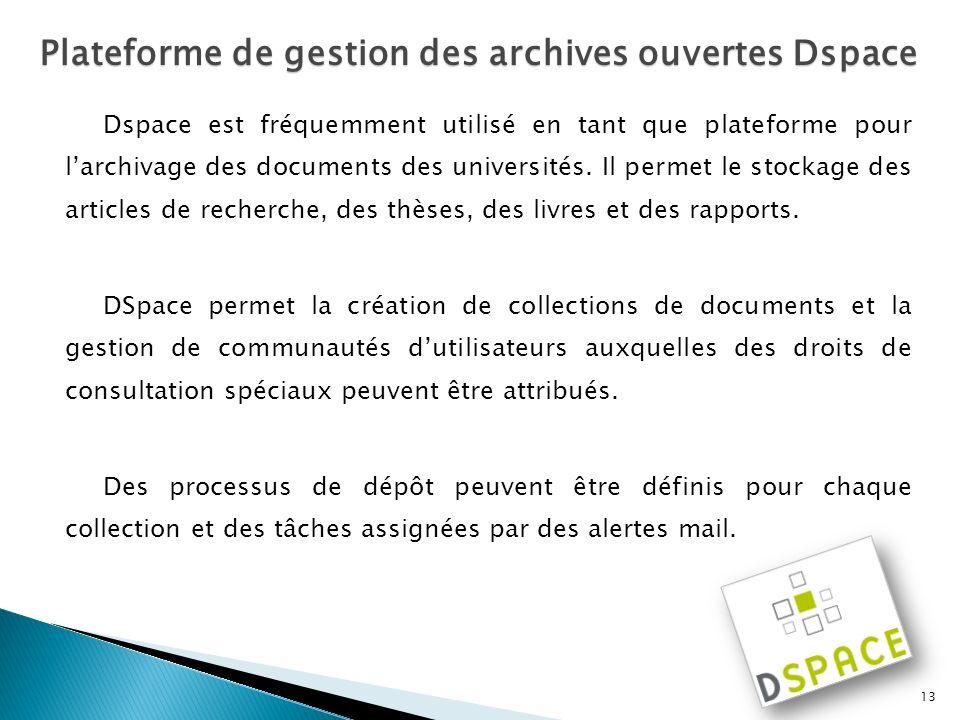 Dspace est fréquemment utilisé en tant que plateforme pour larchivage des documents des universités. Il permet le stockage des articles de recherche,
