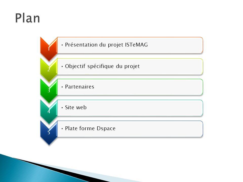 1 Présentation du projet ISTeMAG 2 Objectif spécifique du projet 3 Partenaires 4 Site web 5 Plate forme Dspace