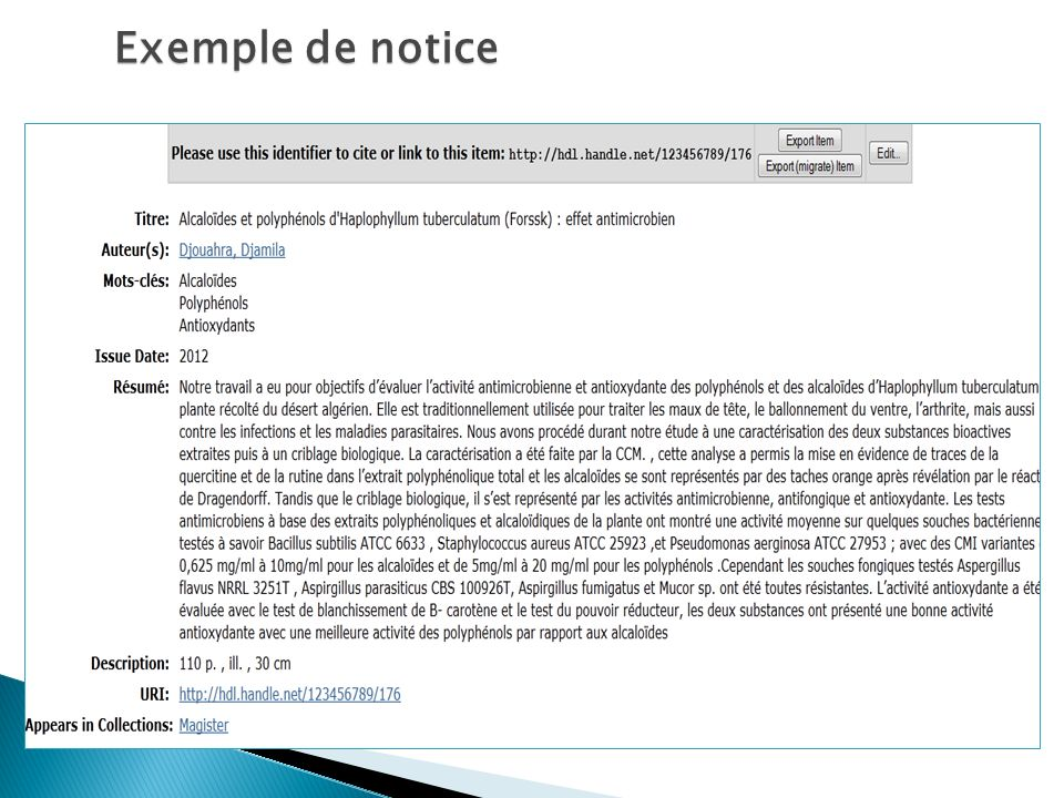 Exemple de notice