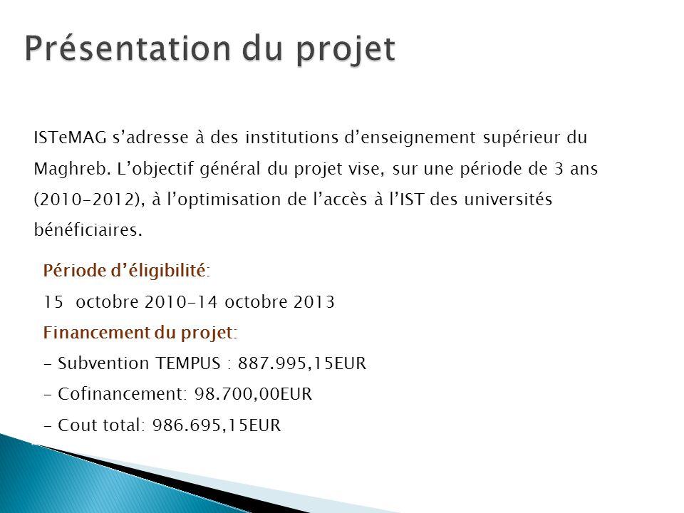 Période déligibilité: 15 octobre 2010-14 octobre 2013 Financement du projet: - Subvention TEMPUS : 887.995,15EUR - Cofinancement: 98.700,00EUR - Cout
