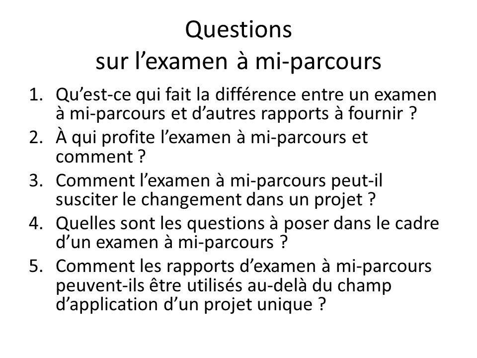 Questions sur lexamen à mi-parcours 1.Quest-ce qui fait la différence entre un examen à mi-parcours et dautres rapports à fournir ? 2.À qui profite le