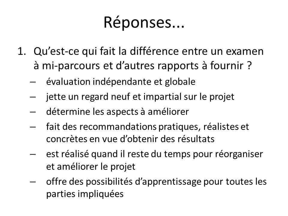 Réponses... 1.Quest-ce qui fait la différence entre un examen à mi-parcours et dautres rapports à fournir ? – évaluation indépendante et globale – jet