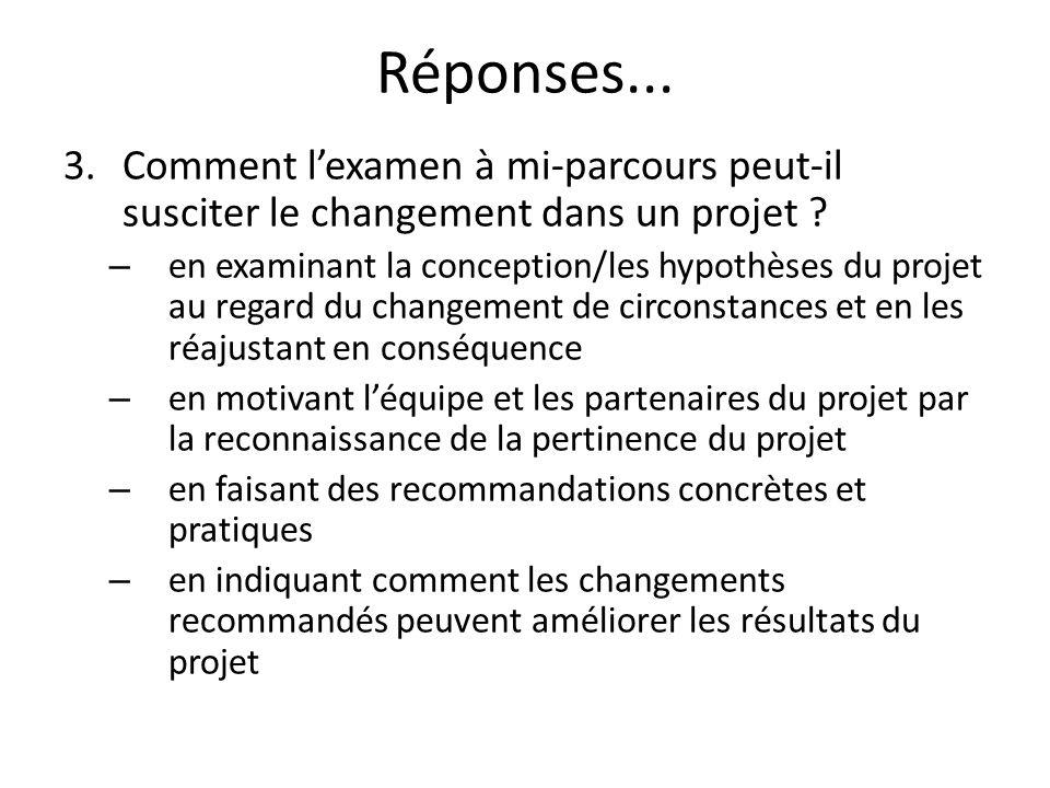 Réponses... 3.Comment lexamen à mi-parcours peut-il susciter le changement dans un projet ? – en examinant la conception/les hypothèses du projet au r