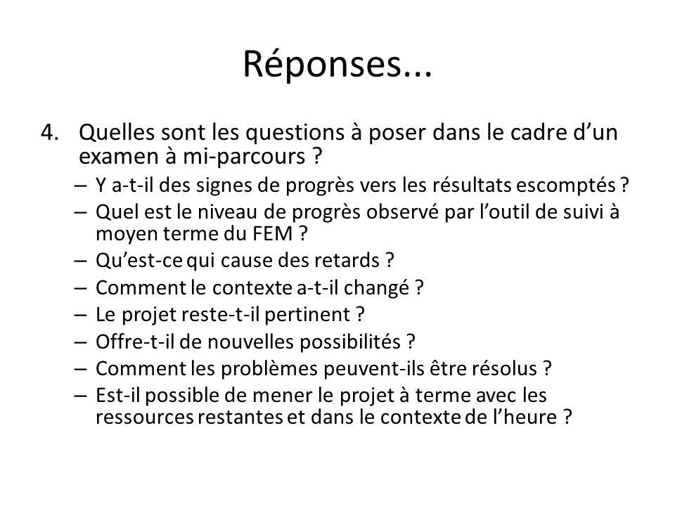Réponses... 4.Quelles sont les questions à poser dans le cadre dun examen à mi-parcours ? – Y a-t-il des signes de progrès vers les résultats escompté