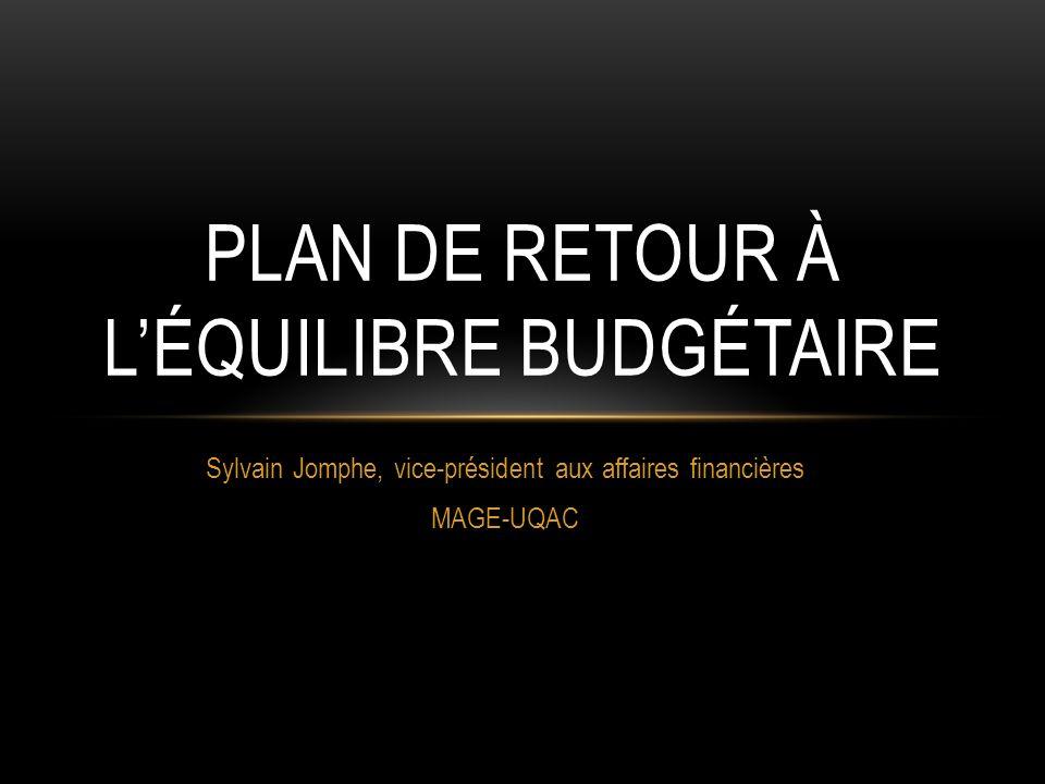 Sylvain Jomphe, vice-président aux affaires financières MAGE-UQAC PLAN DE RETOUR À LÉQUILIBRE BUDGÉTAIRE