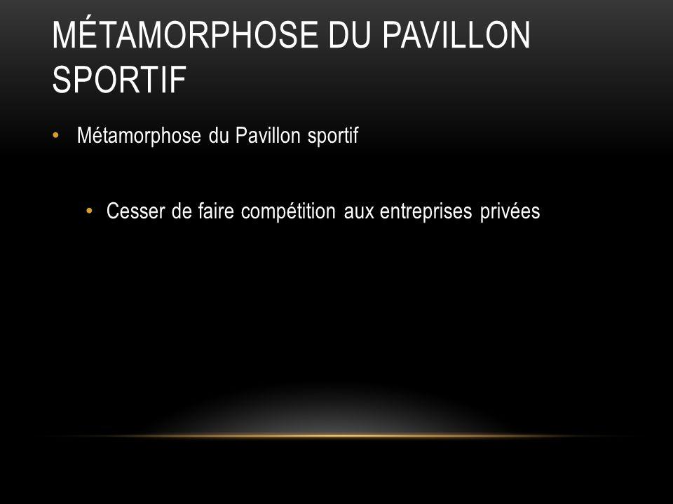 MÉTAMORPHOSE DU PAVILLON SPORTIF Métamorphose du Pavillon sportif Cesser de faire compétition aux entreprises privées